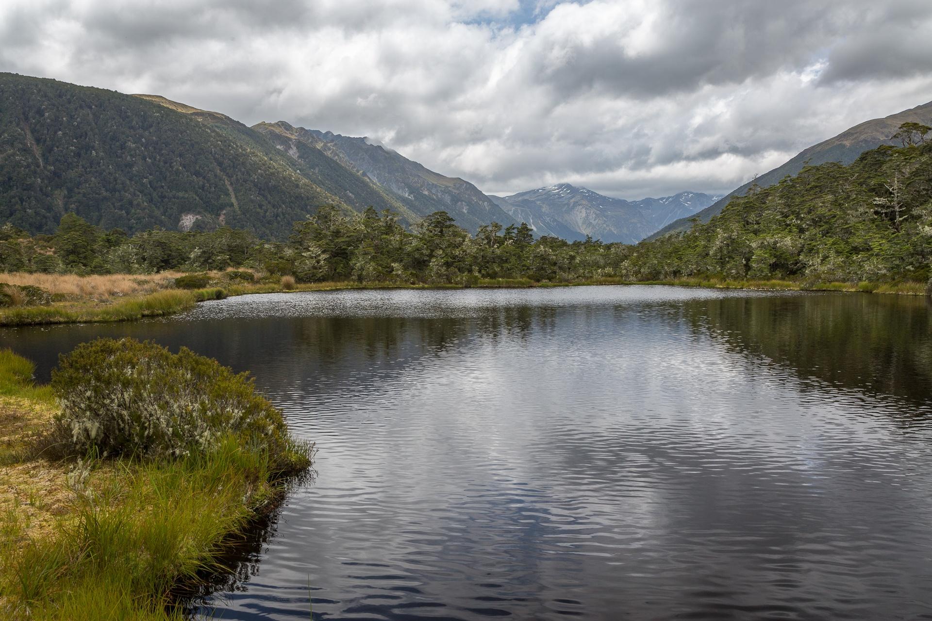 Moody lake scene in New Zealand
