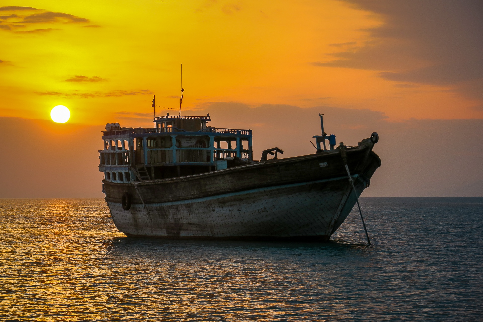 Dhow anchored at sunset