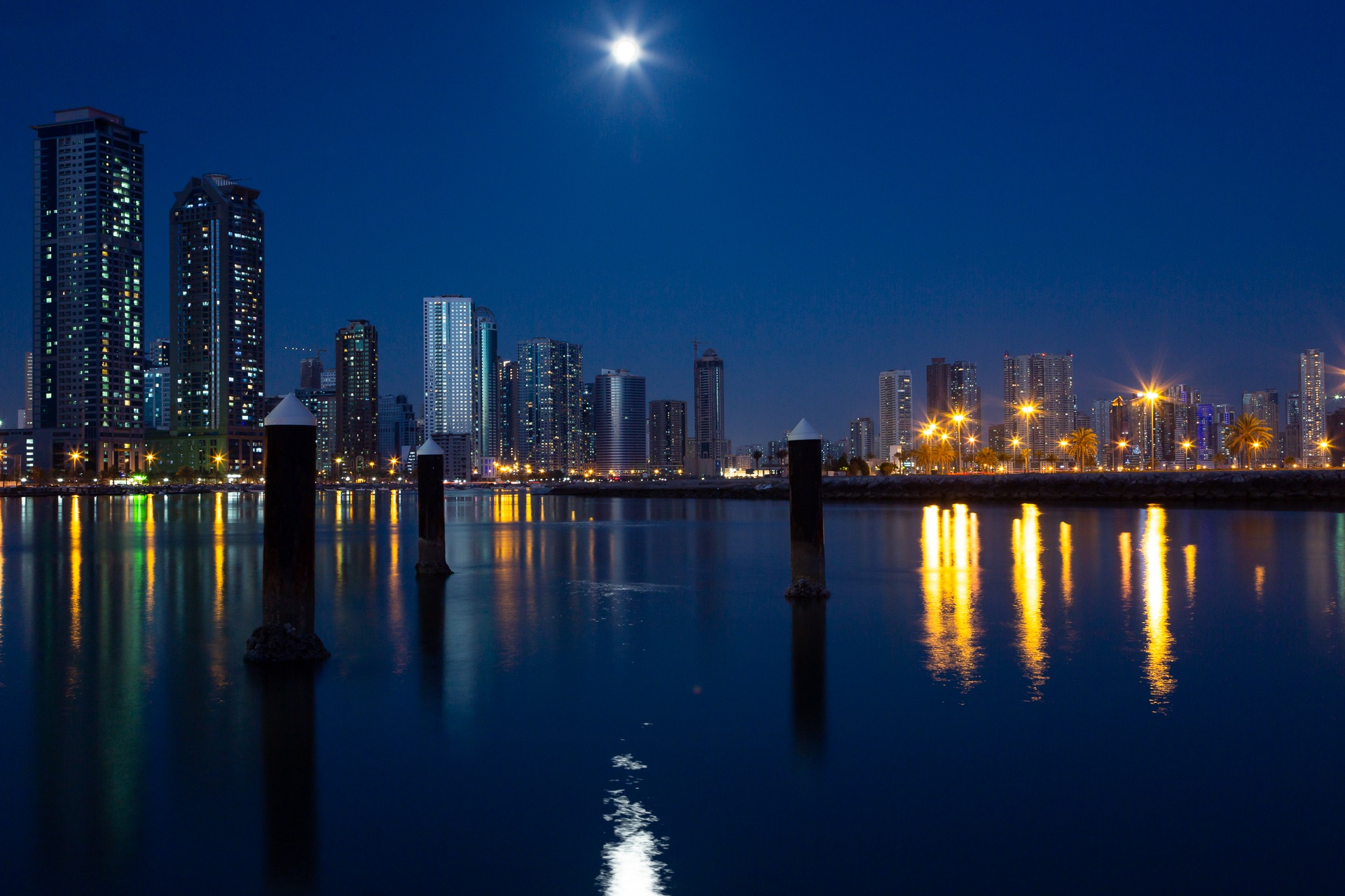 Khan Lagoon and Sharjah city in the blue hour