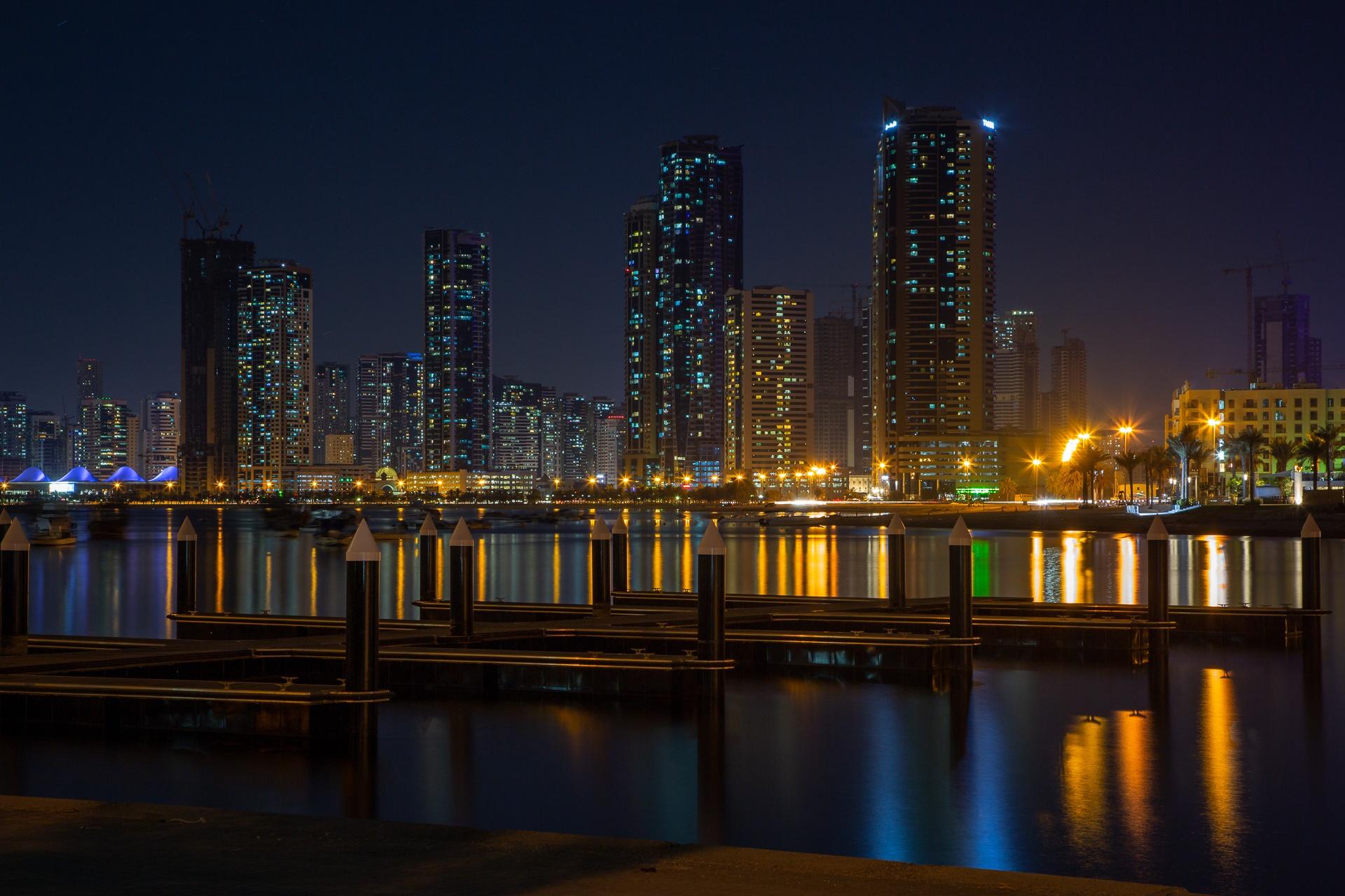 Sharjah city beside Al Khan Lagoon