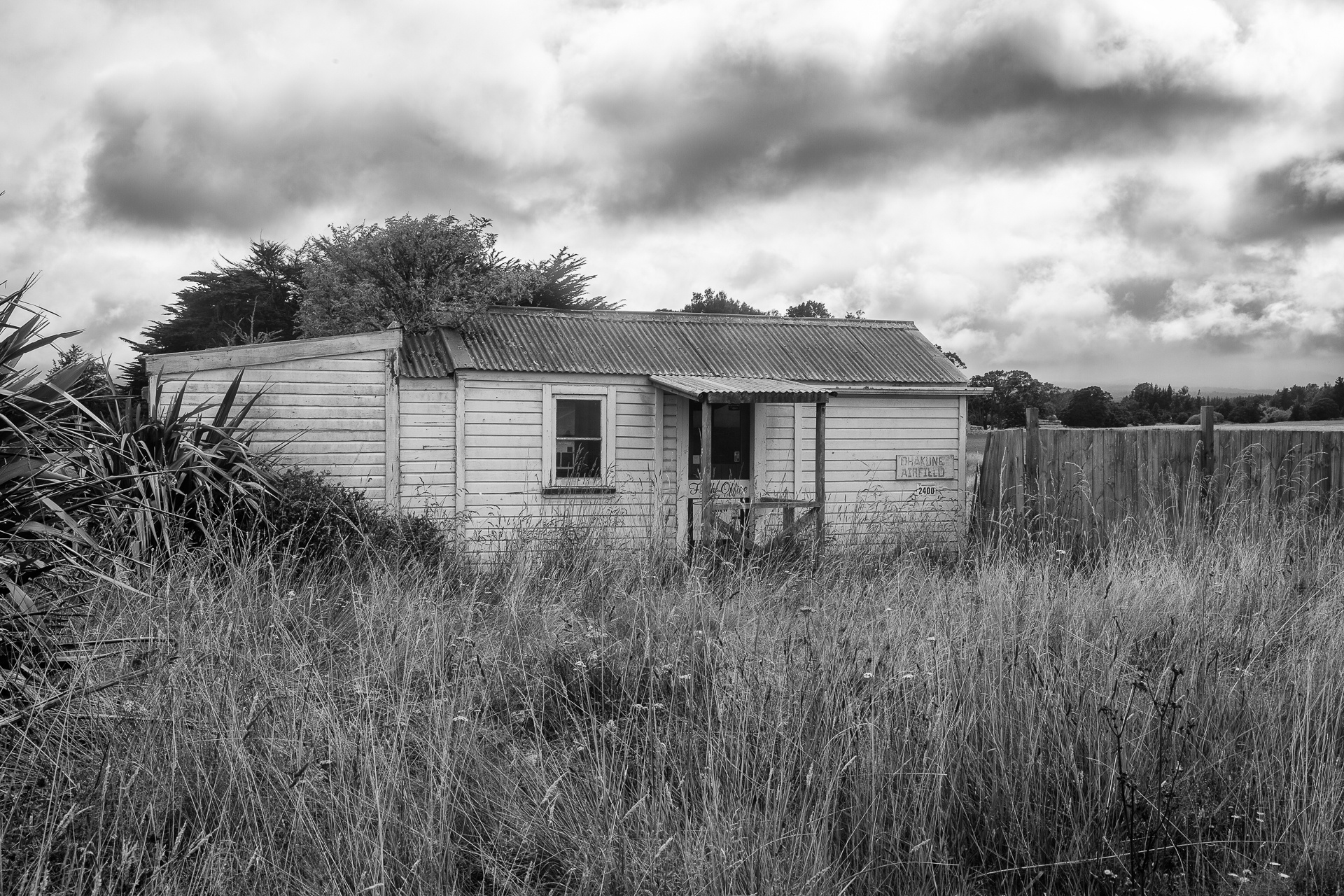 Abandoned building on old rural airfield