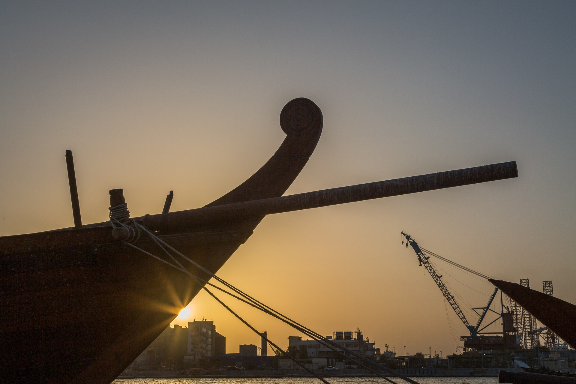 Sun setting behind dhow